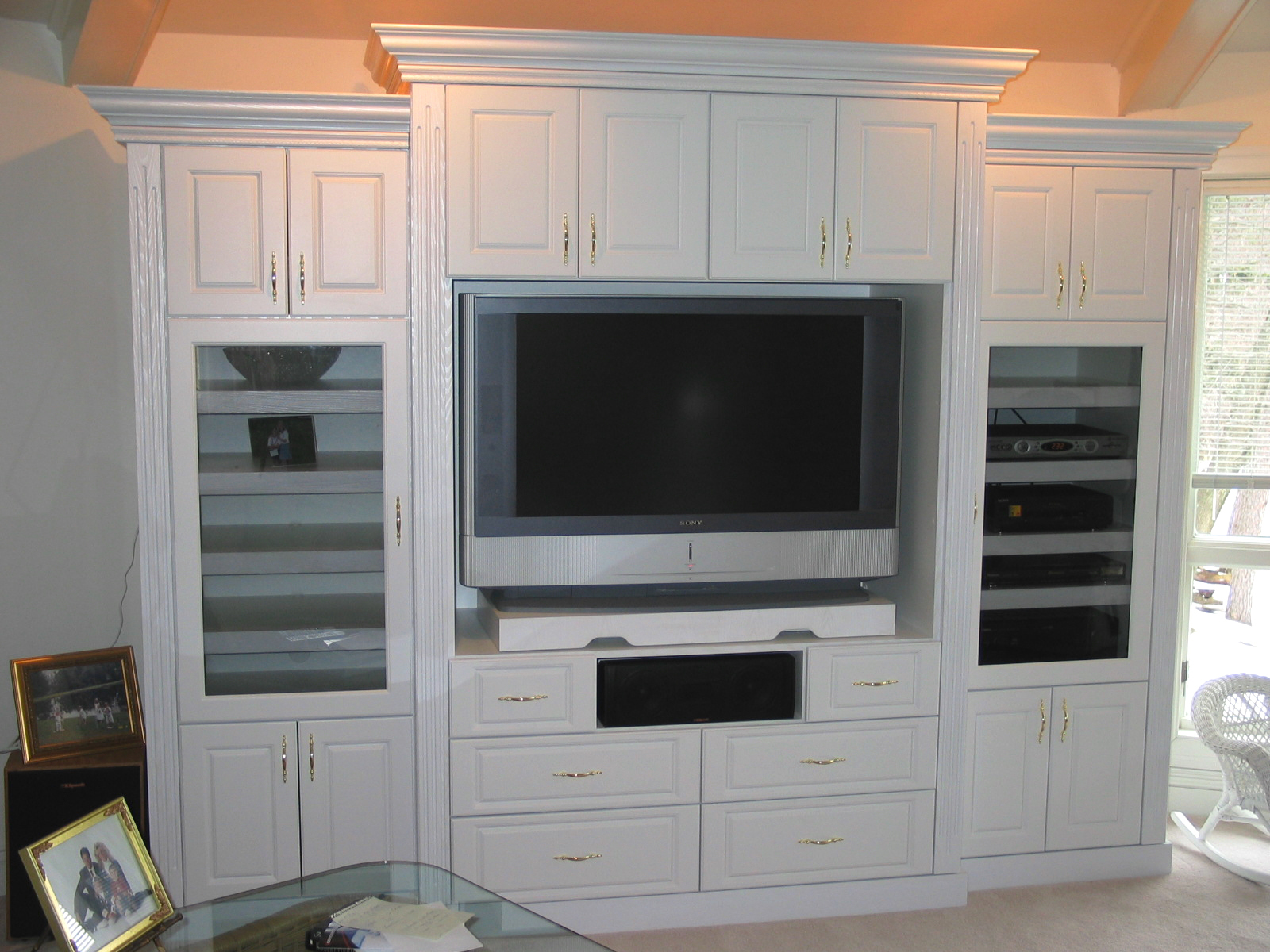 White Built in TV Entertainment Center